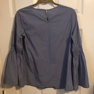 Solitaire Tops - Solitaire blue striped blouse Bell Sleeves Medium